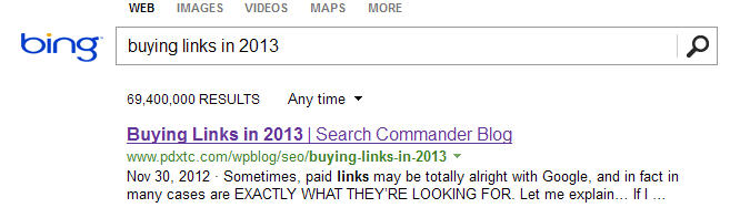 "Ranks #1 on Bing for ""Buying Links in 2013"""