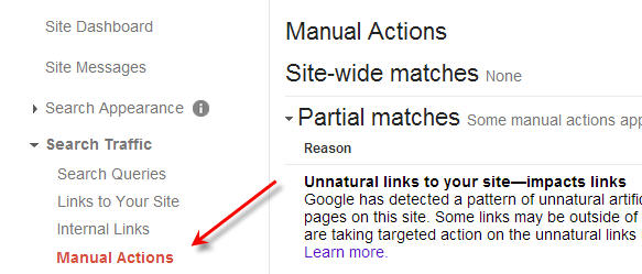 Manual Action in Webmaster Tools