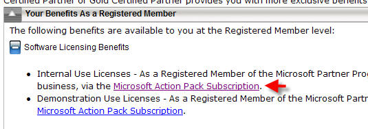 microsoft action pack subscription licenses