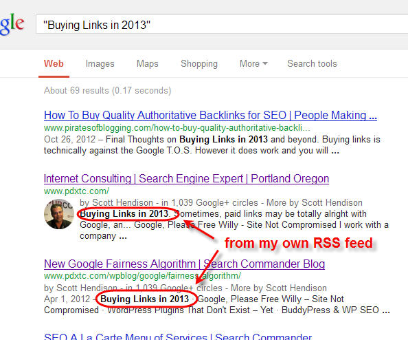 Links to the post are getting crawled elsewhere on my blog
